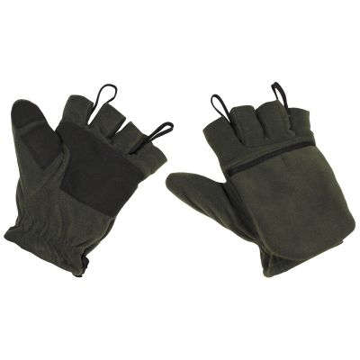 Flis rokavice MFH Fleece Gloves, OD green, with pull loops | XXL