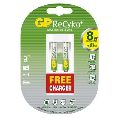 Polnilni bateriji GP RECYKO 2x AAA 800 mAh + USB polnilec