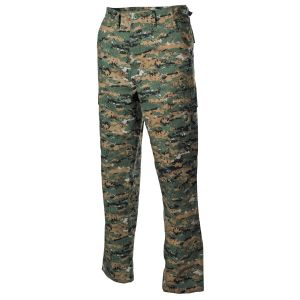 Hlače MFH US BDU Field Pants, Rip Stop, digital woodland | L