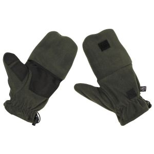 Flis rokavice MFH Fleece Gloves, OD green, with pull loops | L