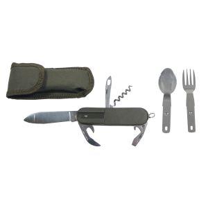 Jedilni pribor MFH Pocket Knife, OD green, fork and spoon | 44065
