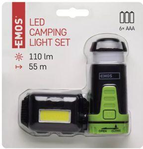 Komplet naglavna svetilka COB LED + Mini svetilka kampiranje (P4007)