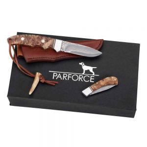 Lovski nož PARFORCE Messer-Set Damast Wurzelholz