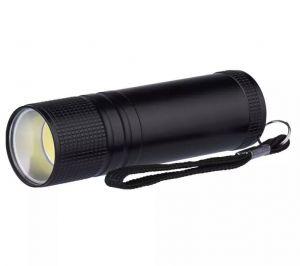 Ročna LED svetilka 3W COB LED, 100 lm, 3x AAA, črna,kovinska   P3894